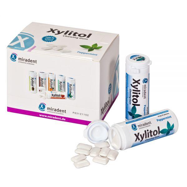 miradent Xylit-Kaugummis 12er-Karton Pfefferminz (kräftig)