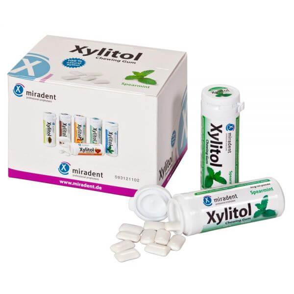 miradent Xylit-Kaugummis 12er-Karton Spearmint (mild)