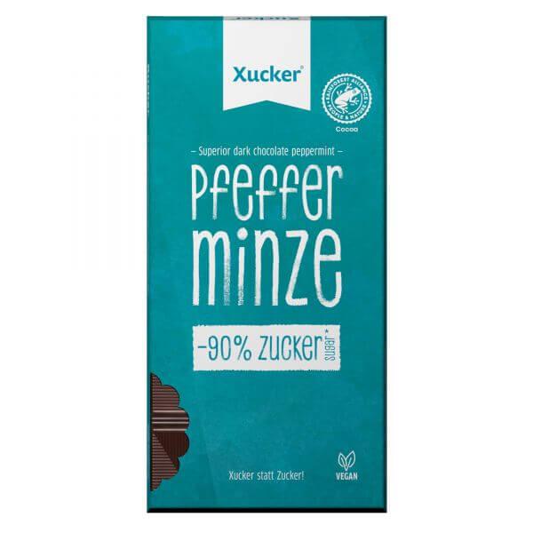 Vegane Edelbitter-Schokolade Pfefferminze mit Xylit