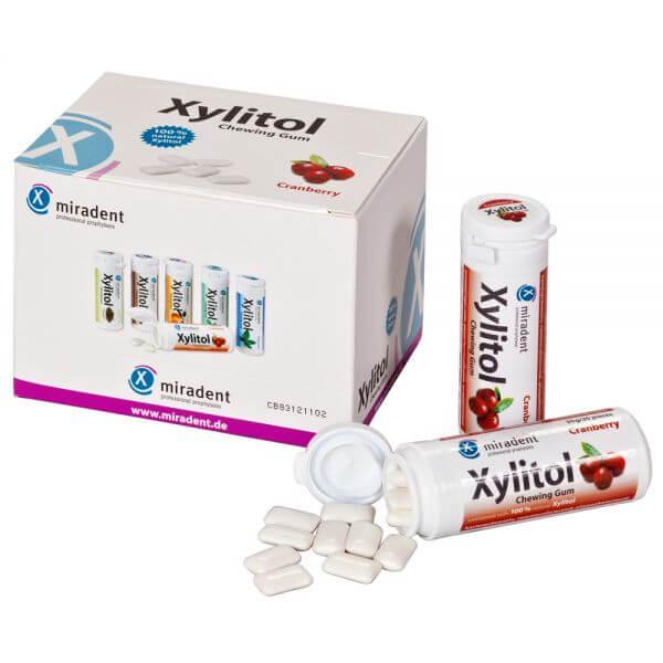 miradent Xylit-Kaugummis 12er-Karton Cranberry