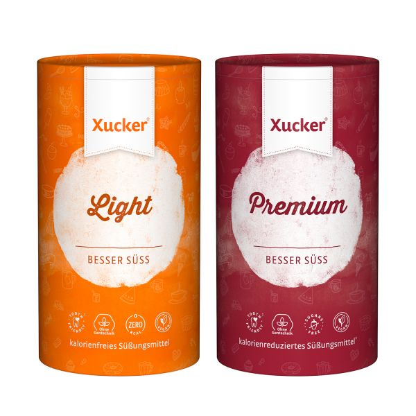 Xucker 2er-Set Dosen Premium (Xylit) & Light (Erythrit)